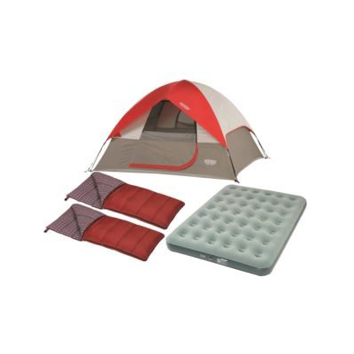 WENZEL<sup>&reg;</sup> Get Up and Go Camping Package - Take an adventure camping any time with this great package.  Features includes a Ridgeline 3 person tent that sets up easily with the Lite-Reflect System that lights up the entire tent with a flashlight or headlamp, 2 rectangle sleeping bags, and a queen size airbed.
