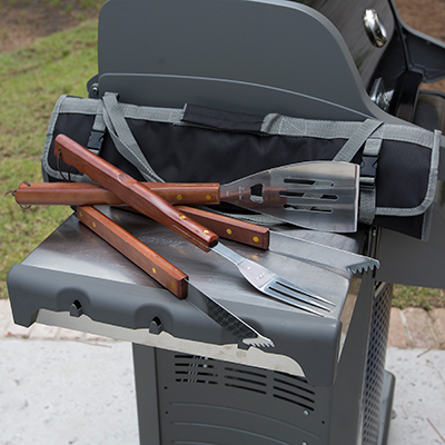PICNIC TIME<sup>&reg;</sup> 3-Piece BBQ Tote - This stainless steel set features a large spatula, tongs, and BBQ fork - all with wooden handles! Tools come in a folding tote with reinforced closure straps and an adjustable shoulder strap.