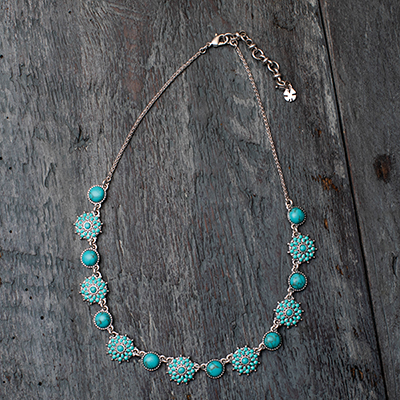 LUCKY BRAND<sup>&reg;</sup>  Turquoise Collar Necklace - Accesorize with this stunning turquoise-look blue stone collar necklace. Features alternating flowers and stones set in silver-tone mixed metal.  Approximate length: 17&quot; and 2&quot; extender.